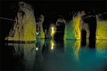 Bonne Terre Mines in Missouri, 45 minutes south of Louis - You freaking can go scuba diving here!