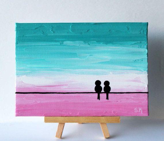 Amor aves pintura arte Mini lona rosa turquesa pintura