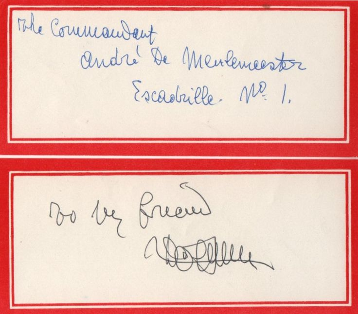 DE MEULEMEESTER ANDRE: (1894-1973) Belgian Fighter Ace of World War I, ranking second highest in the country with 11 air combat victories. Signed and annotated, 12mo, gummed label. Signed by De Meulemeester in black ink below the annotated 'to my friend', to a clear area within the label's red border. Together with a signed and annotated, 12mo, gummed label, stating, in blue ink 'The Commandant Andre De Meulemeester Escadrille No.1' in Demeulemeester's hand.