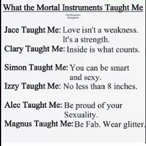 :-) I love what Alec and Magnus taught me to be proud of me