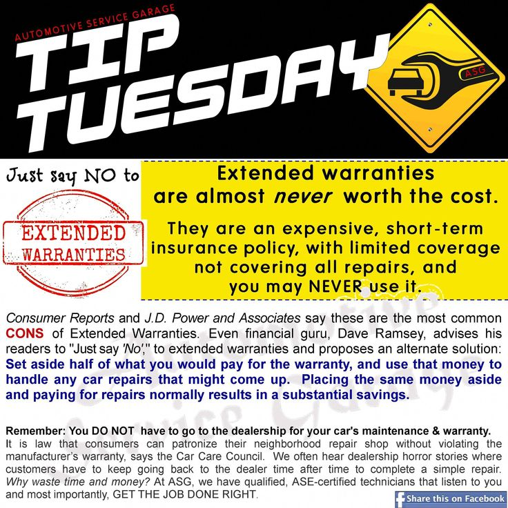 Car care tip extended warranties are almost never worth