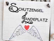 SCHUTZENGEL-LANDEPLATZ dekoratives Holzschild