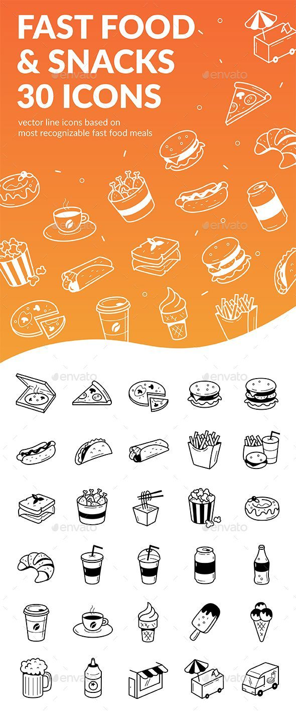 Fast Food Snacks 30 Icons Icon Sets Collection In