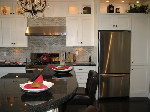 White Cabinets With Sterling Silver Appliances Black Countertops Stainless Steel