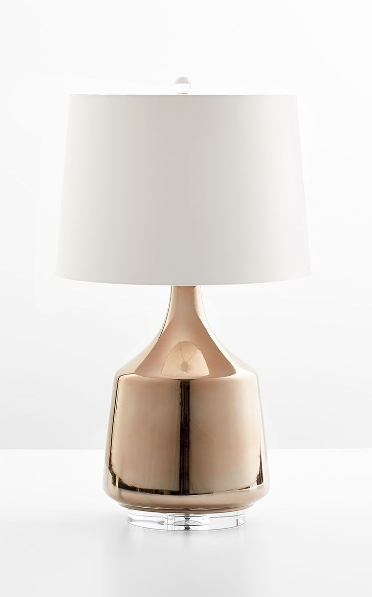 "Flynn Table Lamp - 29.75""(h) x 17""(dia) - Gold - Ceramic with Off White Cotton Shade and White Lining Please allow 1 - 2 weeks to ship out and receive tracking. *This item is excluded from sale events"