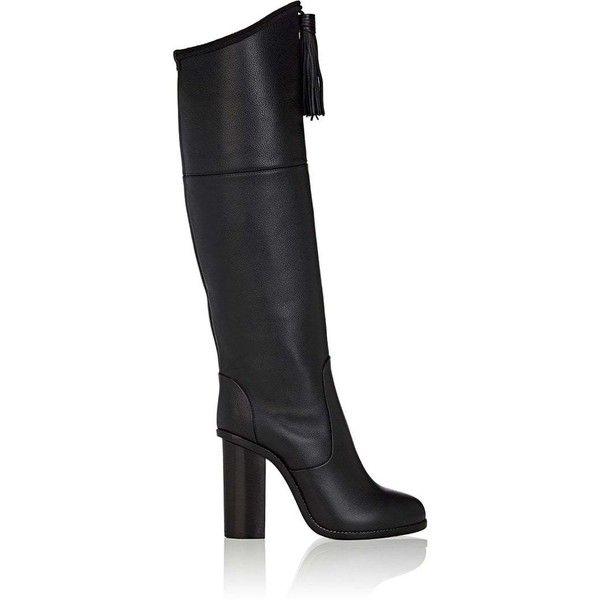 Lanvin Women's Tassel-Embellished Leather Knee Boots (€745) ❤ liked on Polyvore featuring shoes, boots, black, knee-high boots, leather knee high heel boots, over-knee boots, knee high heel boots, leather knee boots and black leather knee high boots