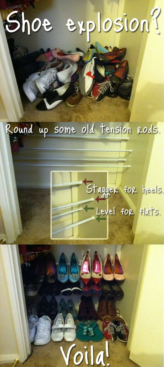 tension rods to hold organize shoes. so smart!