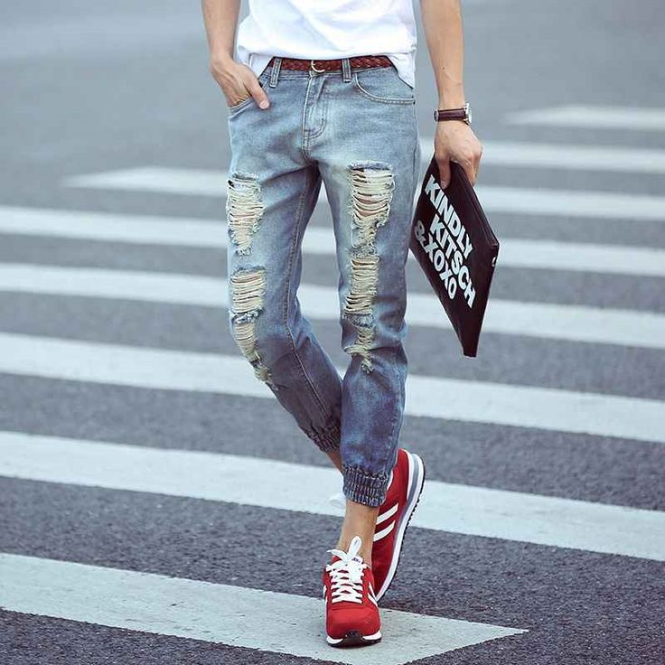 19.63$  Watch now - http://alifna.shopchina.info/1/go.php?t=32705271657 - #1406 Ripped jeans men Fashion Summer 2017 Harem pants Ankle Mens biker jeans Distressed Mens jogger Hip hop jeans Designer   #magazineonlinebeautiful