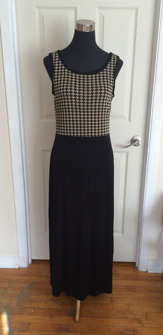Vintage Long Black and White Dress Houndstooth  Pattern Top