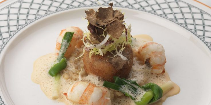 Phil Carnegie's langoustine recipe pairs langoustines with pig's head beignets. Creamy pearl barley adds lovely texture and flavour in this langoustine recipe.