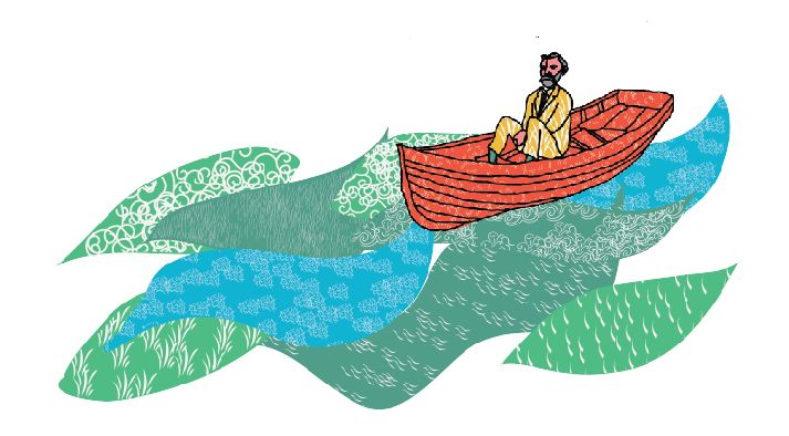 Alfred Nobel on his way to his factory in the ocean. Created by Maderi Hoffman