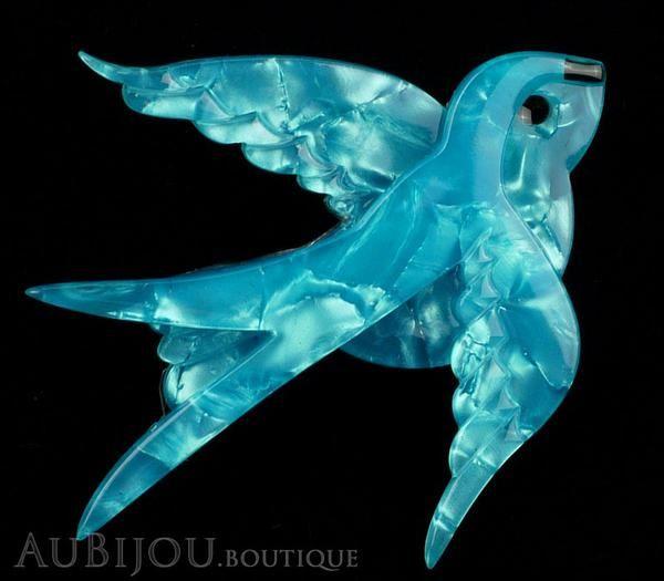 Erstwilder Bird Brooch Pin Bluebird of Happiness Pearly Blue Gallery