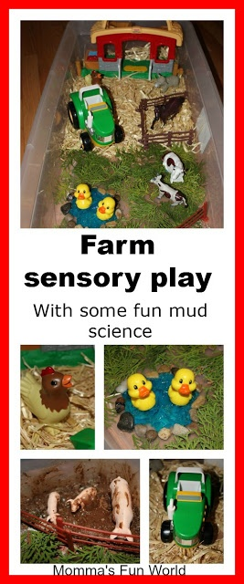 Farm sensory bin with fun science mud