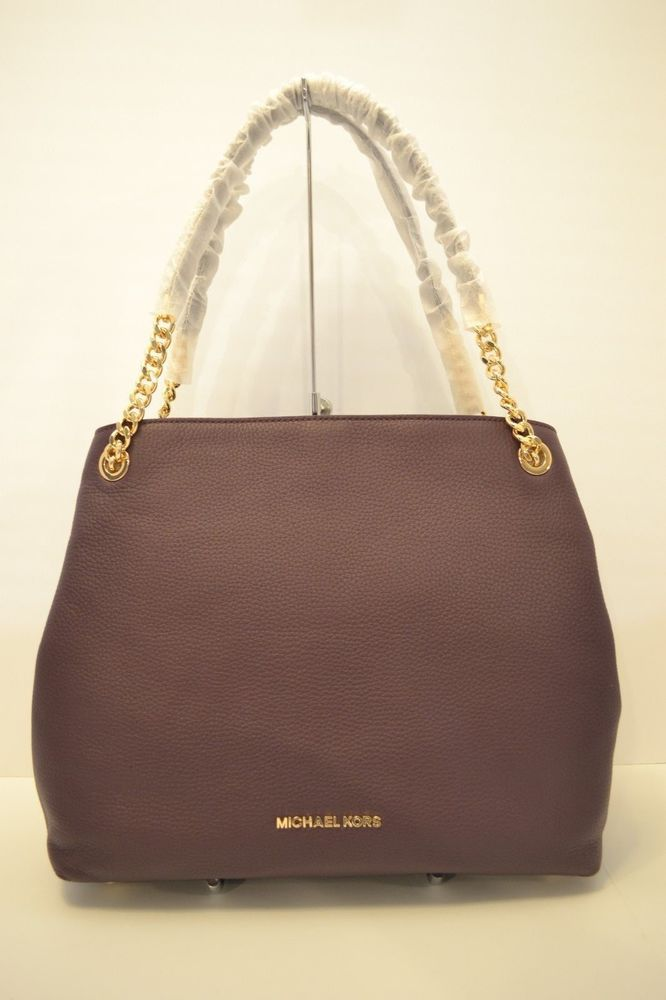 0122cb711450f5 NWT MICHAEL KORS JET SET LEATHER LG CHAIN SHOULDER TOTE in DAMSON/PURPLE |  See more Michael Kors Purple Damson Jet Set Item Large .