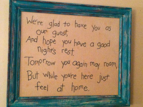 guest room quote | REDUCED!! Guest Room Decor, Wall Hanging, Embroidered Saying ...