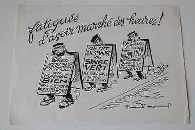 Dessin humoristique litho pub pharmacie Pierre Soymier 1960 homme sandwich