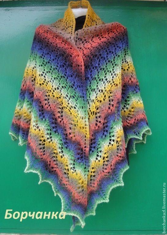 Купить Шаль Краски лета - зеленый, охра, коралловый, ажурная шаль, краски, краски лета