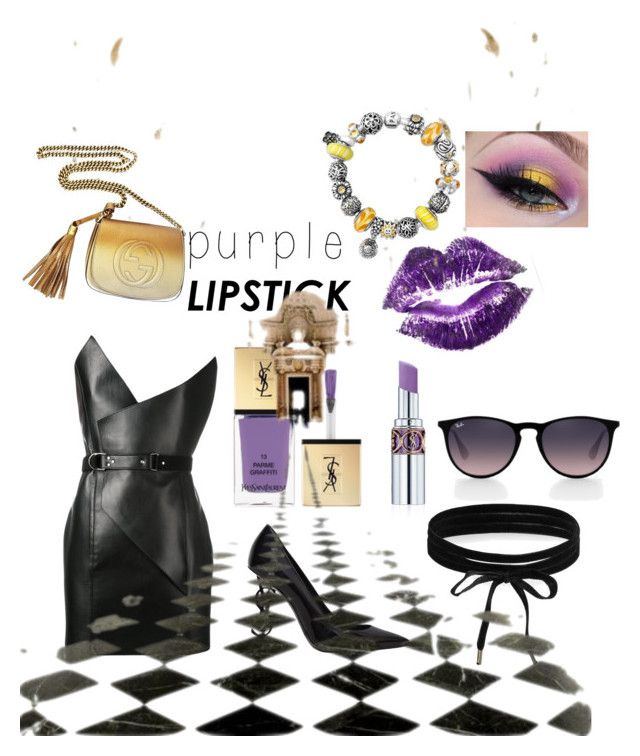 """Purple lipstick"" by renataoczak on Polyvore featuring uroda, Yves Saint Laurent, Ray-Ban, Boohoo, Oxford i Gucci"