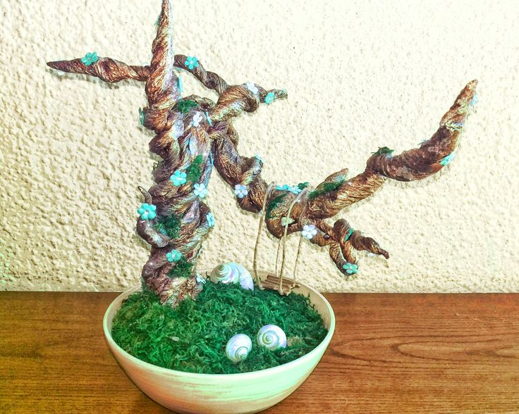 Bonsai Artificial Tree Terrarium Fairy Fantasy Magic Turquoise Shell Swing de NyRhandmade en Etsy