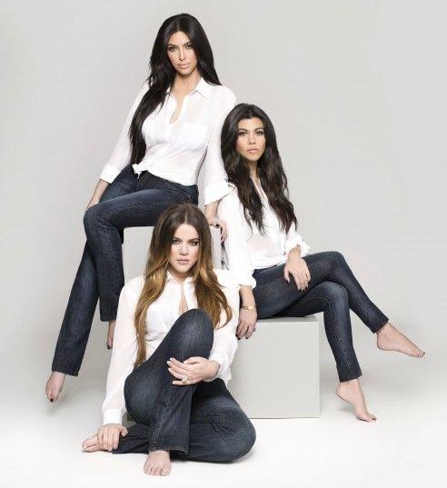 Kim, Kourtney and Khloe in their Kardashian Kollection denim. Check out the denim at www.sears.com/kardashian