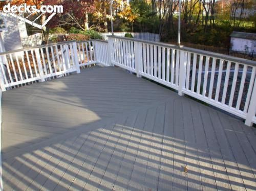 Grey deck white rails deck ideas pinterest deck for Balcony colour combination