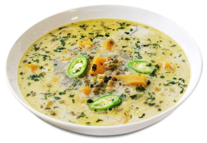 Тыквенный суп счечевицей