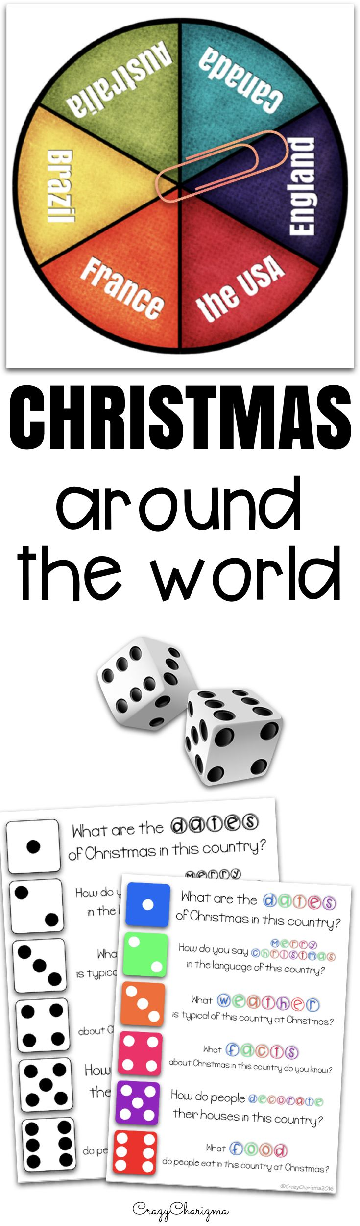 Use this low prep Christmas around the world {Spinners} for any country to revise information your kids know about Christmas celebration and traditions.