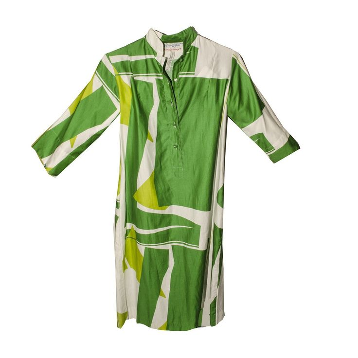 1980s Catherine Ogust Penthouse Gallery Abstract Print Dress in Green & White