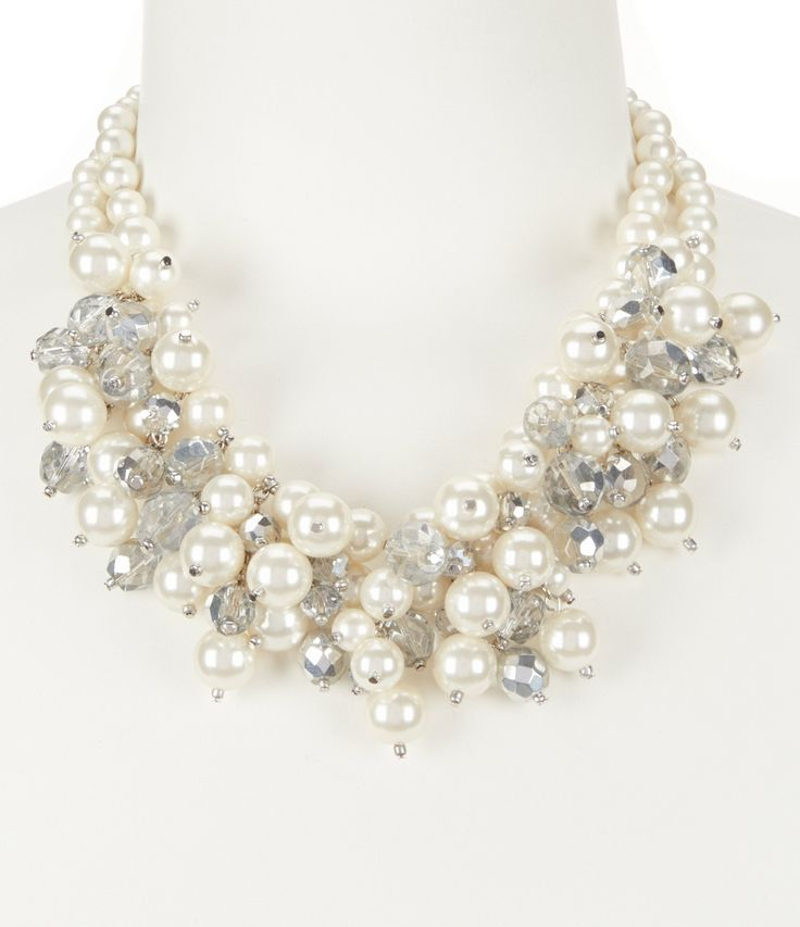 Gemma Layne Pearl Cluster Frontal Statement Necklace #Dillards