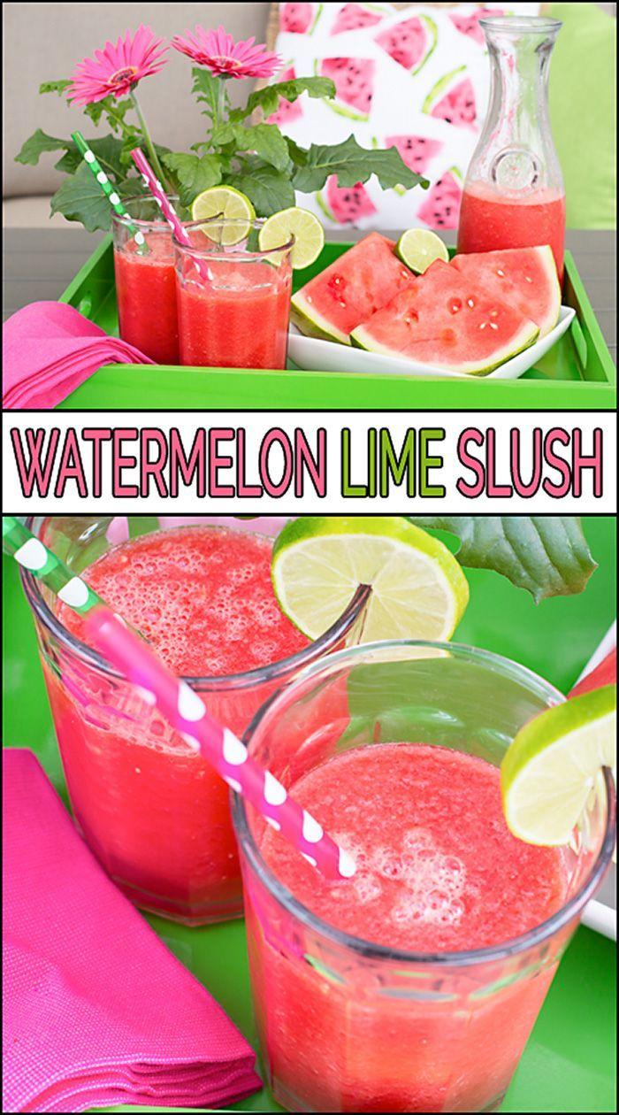 Watermelon Lime Slush Recipe Frozen Drink Recipes Watermelon Delicious Healthy Recipes