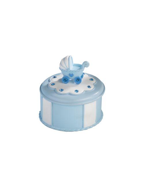SET 4 BOMBONIERE IN RESINA A107   Set 4 scatole in resina con cristalli. Diam. 7x5,5h cm.