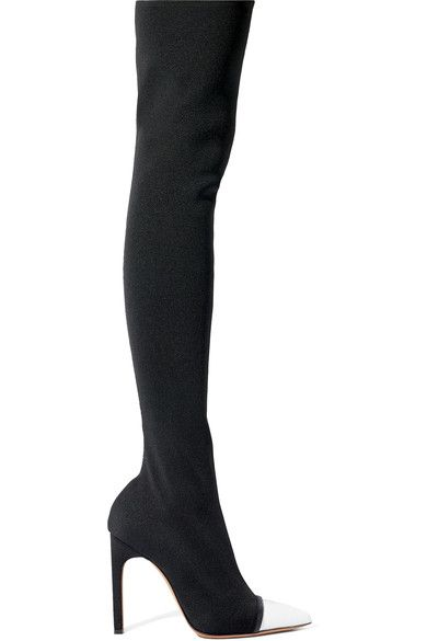 Givenchy - Leather-trimmed Stretch-knit Over-the-knee Boots - Black - IT