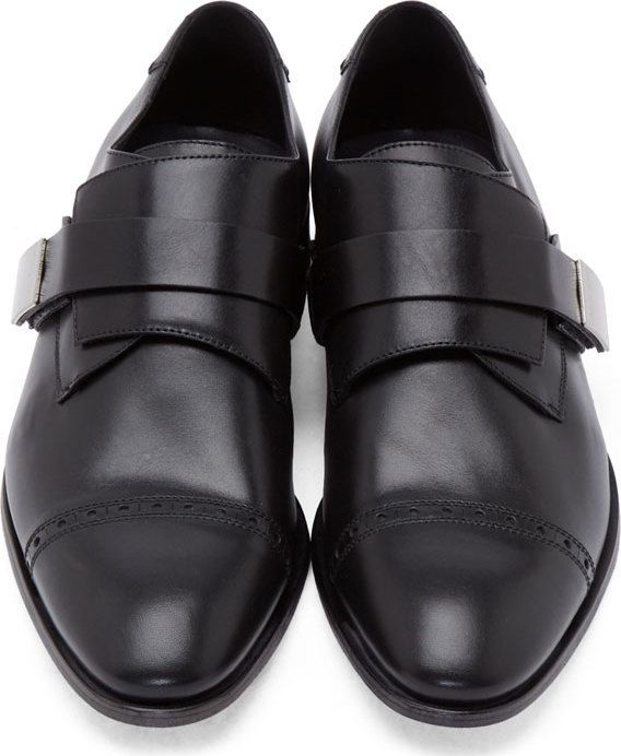 Calvin Klein Collection Black Leather Monk Strap Shoes