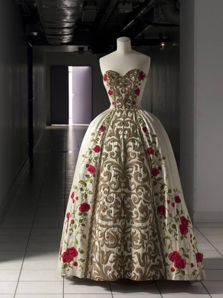 S/S 1954, France Evening dress 'Antonia' by Pierre Balmain  Orlon satin, silk and metal thread embroidery, beads, silk chiffon  Palais Galliera