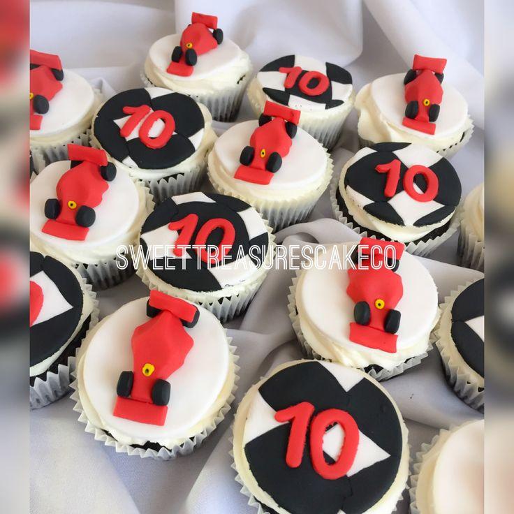 Ferrari F1 cupcakes to celebrate Qiniso's 10th birthday party.   #bestcakesintown #customcakes #sweettreasures #sweettreasurescakeco #celebrations #party #customcupcakes #f1 #ferrari #cupcakes