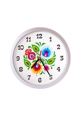 Ścienny zegar z łowickim wzorem