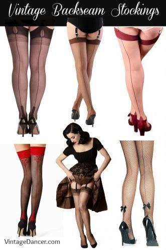 Shop vintage back seam stockings, nylons, tights, thigh highs in black, nude, or fishnet with cuban heels. Many are fully fashioned at VintageDancer.com #blackhighheelsstockings #blackhighheelswithtights