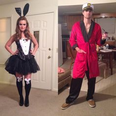 Pin for Later: 60 Sexy Halloween Couples Costume Ideas Hugh Hefner and Playboy Bunny Two peas in a pod.