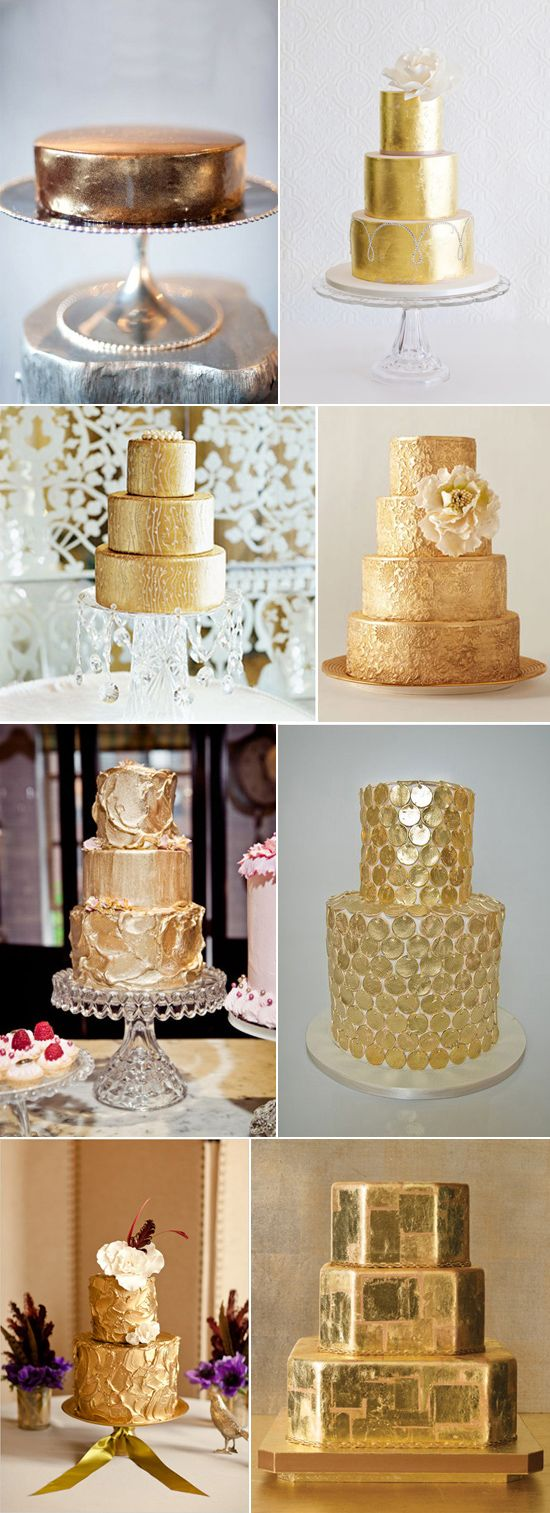 Beautiful Gold Wedding Cakes (Best Wedding and Engagement Rings at www.brilliance.com)