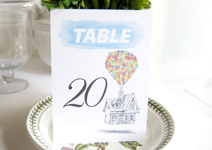 Up themed wedding table numbers