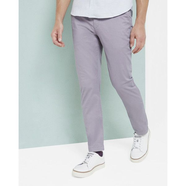 Ted Baker Slim fit chinos ($110) ❤ liked on Polyvore featuring men's fashion, men's clothing, men's pants, men's casual pants, lilac, mens slim fit chino pants, mens chino pants, ted baker mens pants, mens slim pants and mens slim fit pants