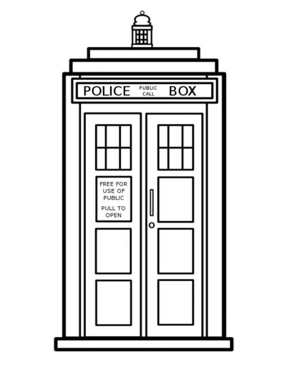 tardis the spaceship of doctor who coloring page