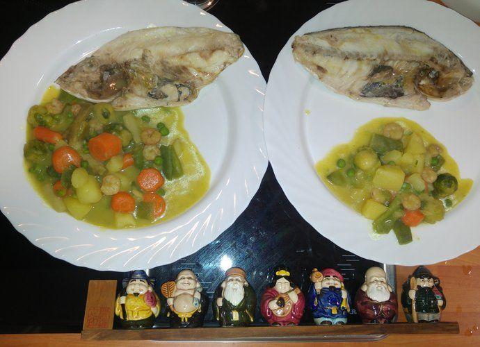 Dorada al vapor con menestra de guarnición para #Mycook http://www.mycook.es/cocina/receta/dorada-al-vapor-con-menestra-de-guarnicion