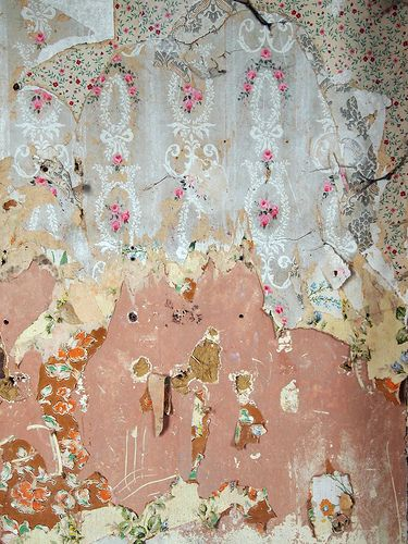layers of vintage wallpaper ~ I have a wall with 15 layers of vintage paper!!! I've made it into a piece of art