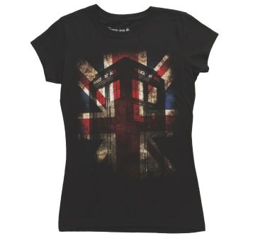 Womens Doctor Who Tardis Union Jack T-Shirt Front