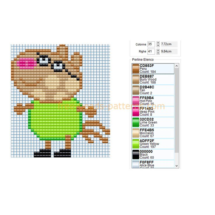 Pedro pony peppa pig character free perler beads fuse beads ikea pyssla pattern ariana crafts - Fusee peppa pig ...
