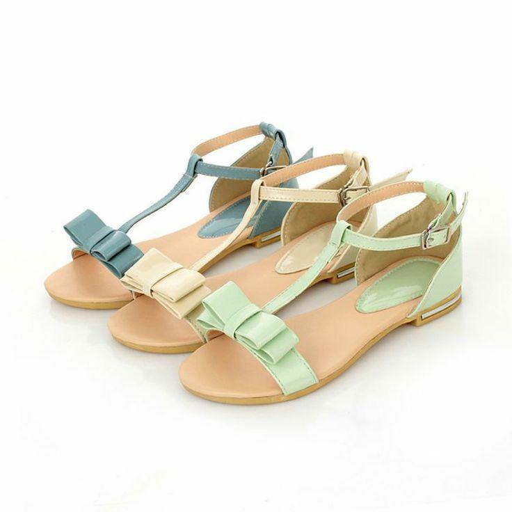 2014 лето сладкий девушка обувь плоские сандалии студентка плоские с небольшим носовым корейской свежего белого риса - Taobao