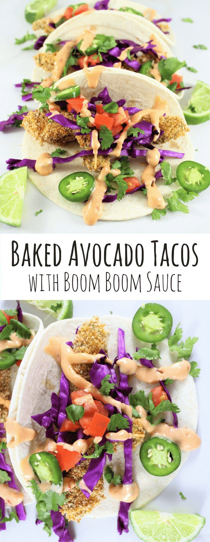 Baked Avocado Tacos with Boom Boom Sauce | Vegetarian
