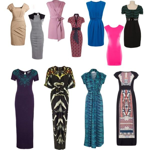 """""""the pear body type dresses"""" by stylizit on Polyvore Shoulder/bust/necklines all have horizontal design, while the hip-line all use vertical line and colour design.  Note the aqua maxi - the horizontal lines act as a ladder running up the body. Try it - it really works."""