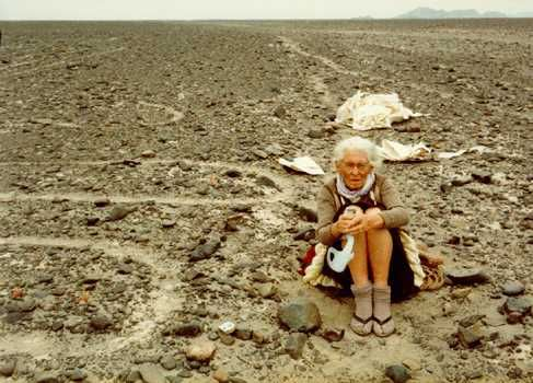 Maria Reiche was a German mathematician, archaeologist, and technical translator who is notable for her research in the Nazca Lines in Peru, beginning in 1940. She spent the next fifty years living on the Nazca Plain close to the area of the drawings, painstakingly mapping each one, and trying to protect them. She died in 1998 at 95 and was buried beside her beloved geoglyphs.